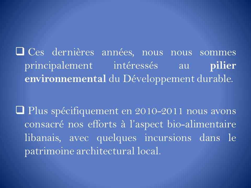 Ces dernières années, nous nous sommes principalement intéressés au pilier environnemental du Développement durable. Plus spécifiquement en 2010-2011