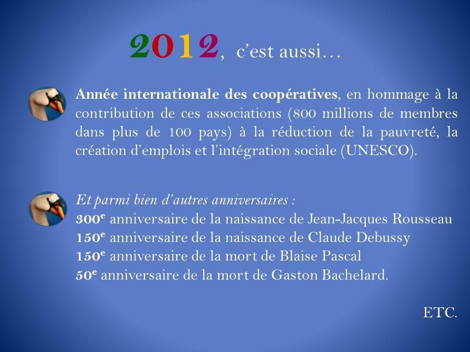 2012, cest aussi… Année internationale des coopératives, en hommage à la contribution de ces associations (800 millions de membres dans plus de 100 pa