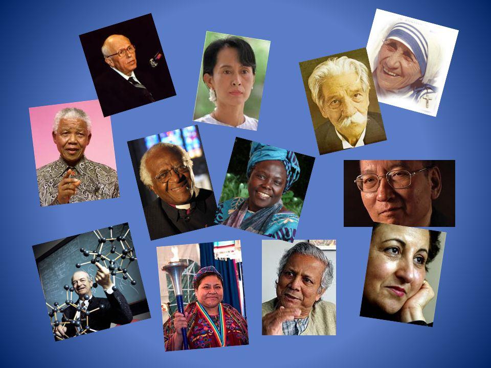 Chaque siècle, chaque continent a ses héros, des hommes et des femmes qui se tiennent debout, mettent leur vie au service de la défense des Droits lHomme (Andrei Sakarov, Ang San Suu Kyi, Liu Xiabo), des Droits des minorités (Nelson Mandela, Mgr Desmond Tutu, Rigoberta Menchu), des Droits des femmes (Wandari Maathai, Chirine Ebadi), des hommes qui comme Mohammad Yunus refusent la fatalité de la misère et inventent le micro-crédit, des scientifiques comme Linus Pauling qui tirent la sonnette dalarme de lutilisation du nucléaire, sa propre disicipline, et enfin des hommes et des femmes qui redonnent leur dignité aux plus démunis (Mere Teresa, Albert Schweitzer).