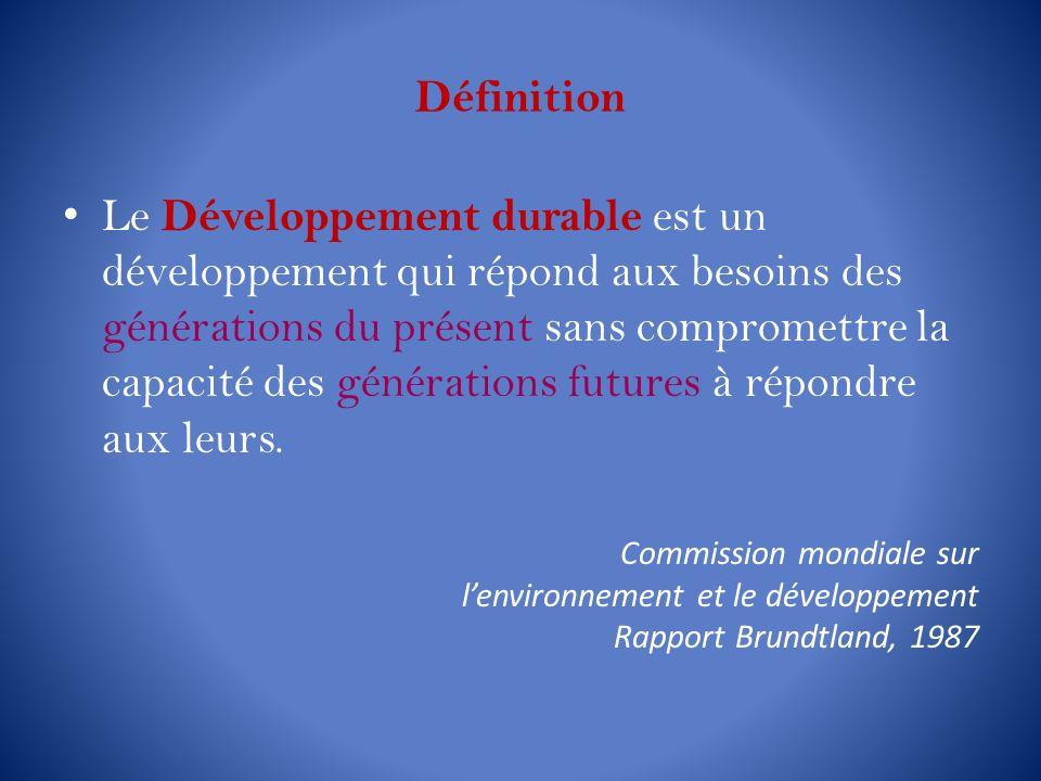 Définition L e Développement durable est un développement qui répond aux besoins des générations du présent sans compromettre la capacité des générati