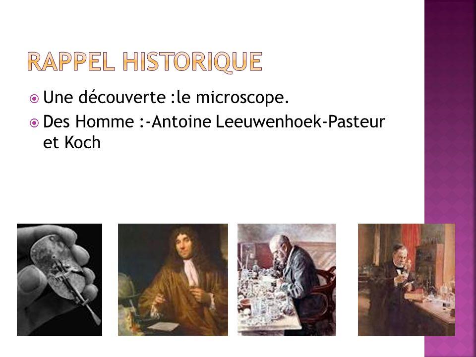 Une découverte :le microscope. Des Homme :-Antoine Leeuwenhoek-Pasteur et Koch