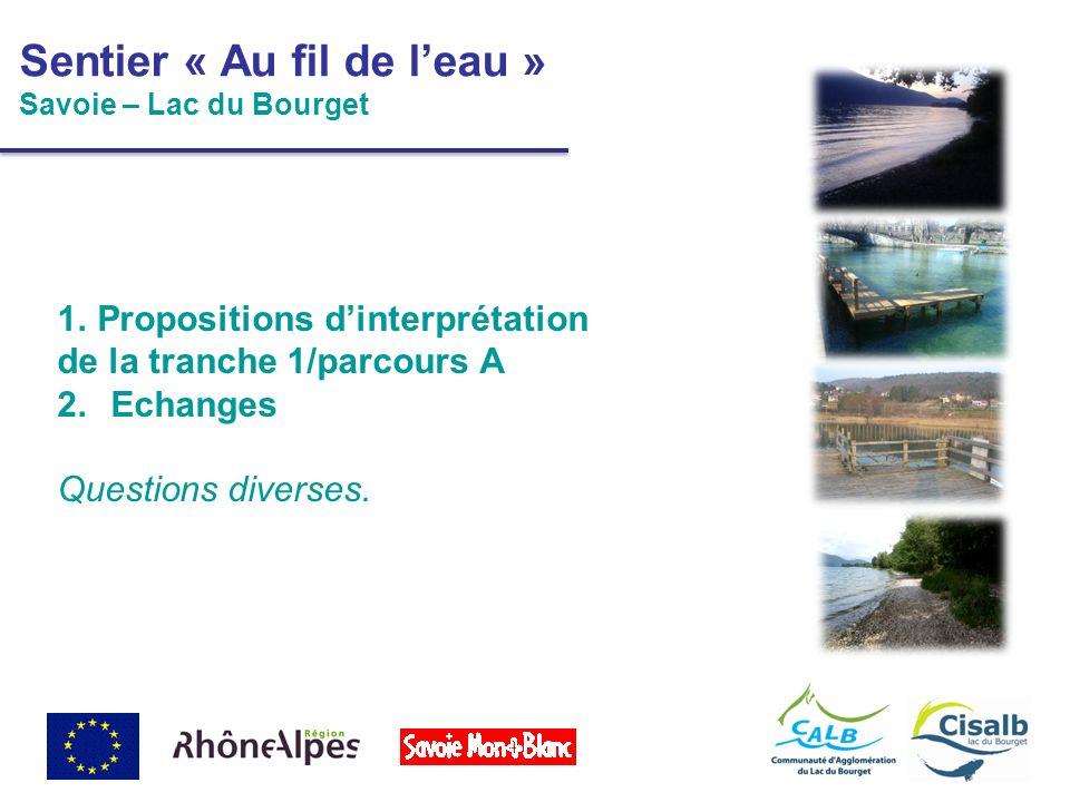 1.Propositions dinterprétation de la tranche 1/parcours A 2.Echanges Questions diverses. Sentier « Au fil de leau » Savoie – Lac du Bourget