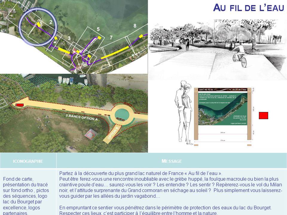 A U FIL DE L EAU ICONOGRAPHIE M ESSAGE Fond de carte, présentation du tracé sur fond ortho, pictos des séquences, logo lac du Bourget par excellence,