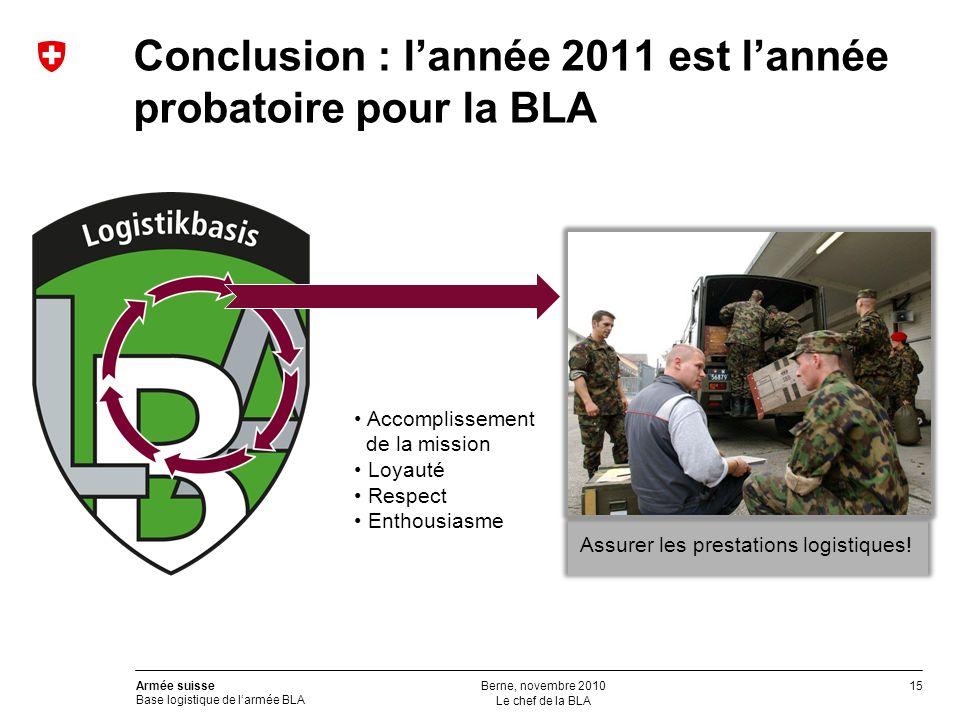 15 Armée suisse Base logistique de larmée BLA Conclusion : lannée 2011 est lannée probatoire pour la BLA Accomplissement de la mission Loyauté Respect