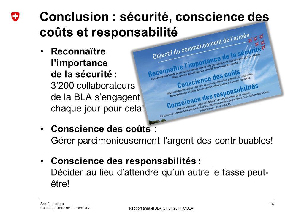 16 Armée suisse Base logistique de larmée BLA Conclusion : sécurité, conscience des coûts et responsabilité Rapport annuel BLA, 21.01.2011, C BLA Reco