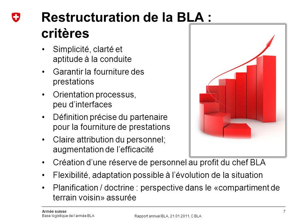 7 Armée suisse Base logistique de larmée BLA Restructuration de la BLA : critères Simplicité, clarté et aptitude à la conduite Garantir la fourniture