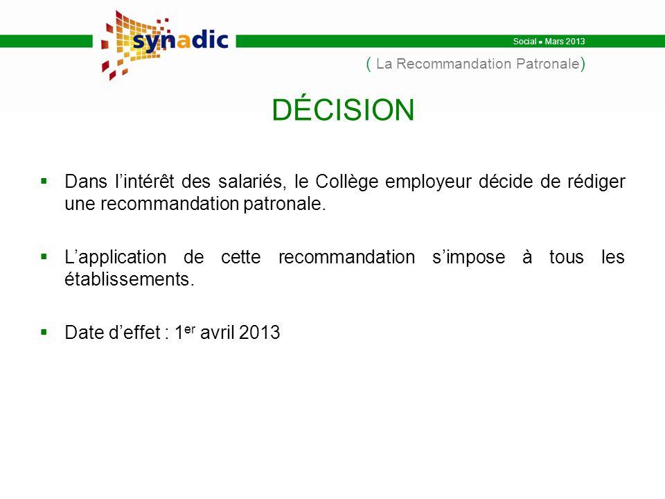 Social Mars 2013 ( La Recommandation Patronale ) Dans lintérêt des salariés, le Collège employeur décide de rédiger une recommandation patronale.