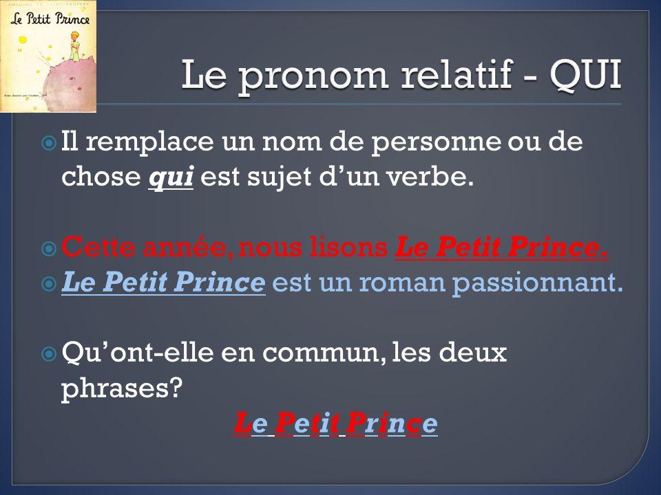 Il remplace un nom de personne ou de chose qui est sujet dun verbe. Cette année, nous lisons Le Petit Prince. Le Petit Prince est un roman passionnant