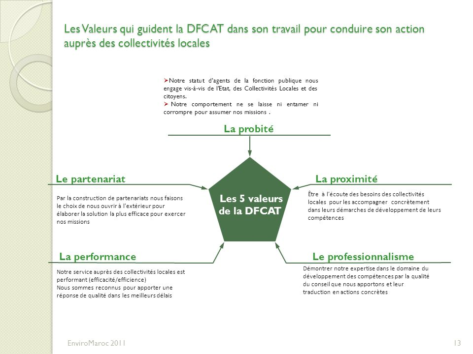 Les Valeurs qui guident la DFCAT dans son travail pour conduire son action auprès des collectivités locales EnviroMaroc 201113 Le professionnalisme La