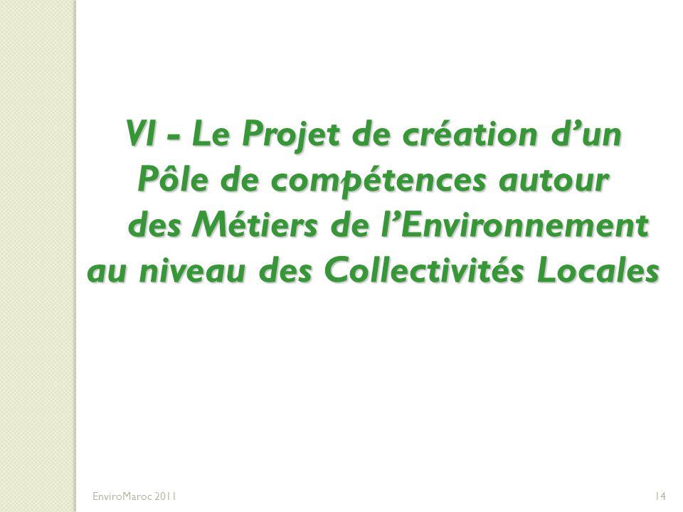 VI - Le Projet de création dun Pôle de compétences autour des Métiers de lEnvironnement au niveau des Collectivités Locales TEXTE ACTUEL DE LA FORMATI