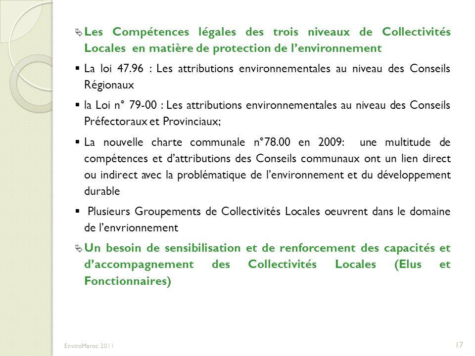 Les Compétences légales des trois niveaux de Collectivités Locales en matière de protection de lenvironnement La loi 47.96 : Les attributions environn