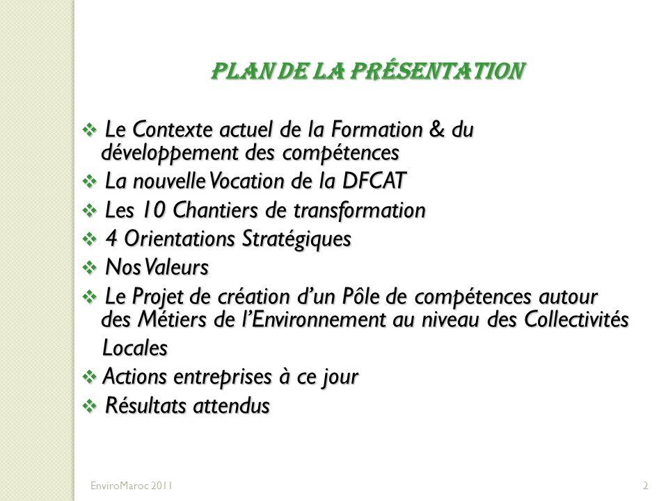 33 Les axes du Programme de Formation 33 EnviroMaroc 2011 ThèmesPopulation cible Nombres Actions Effectifs Plan Directeur Préfectoral/Provincial de Gestion des Déchets Cadres chargés de la GDM au sein des collectivités Locales prioritaires dans le cadre du PNDM.