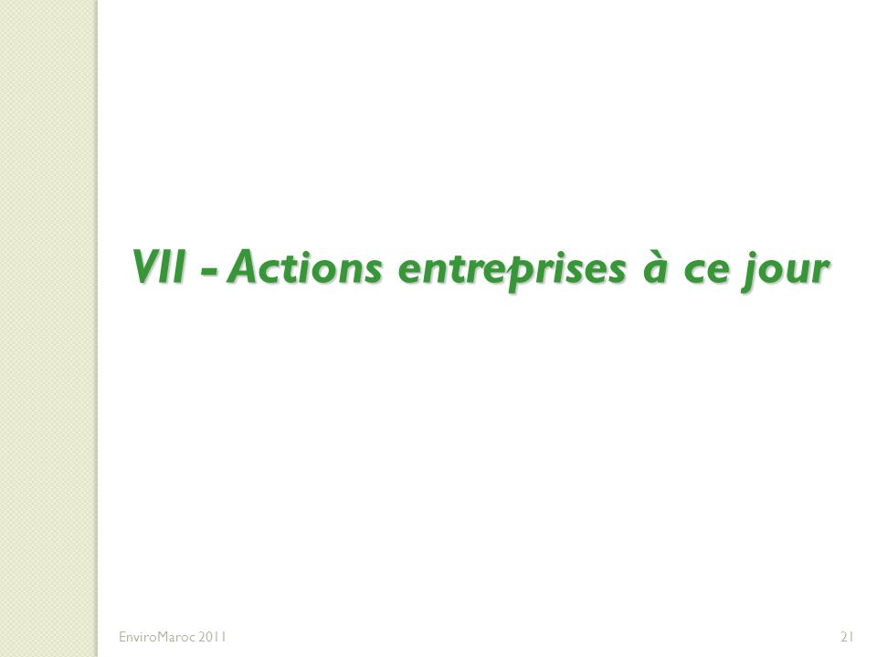 VII - Actions entreprises à ce jour EnviroMaroc 201121