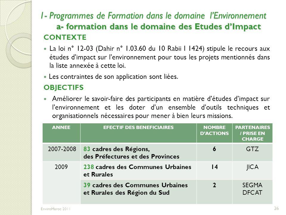 1- Programmes de Formation dans le domaine lEnvironnement a- formation dans le domaine des Etudes dImpact CONTEXTE La loi n° 12-03 (Dahir n° 1.03.60 d