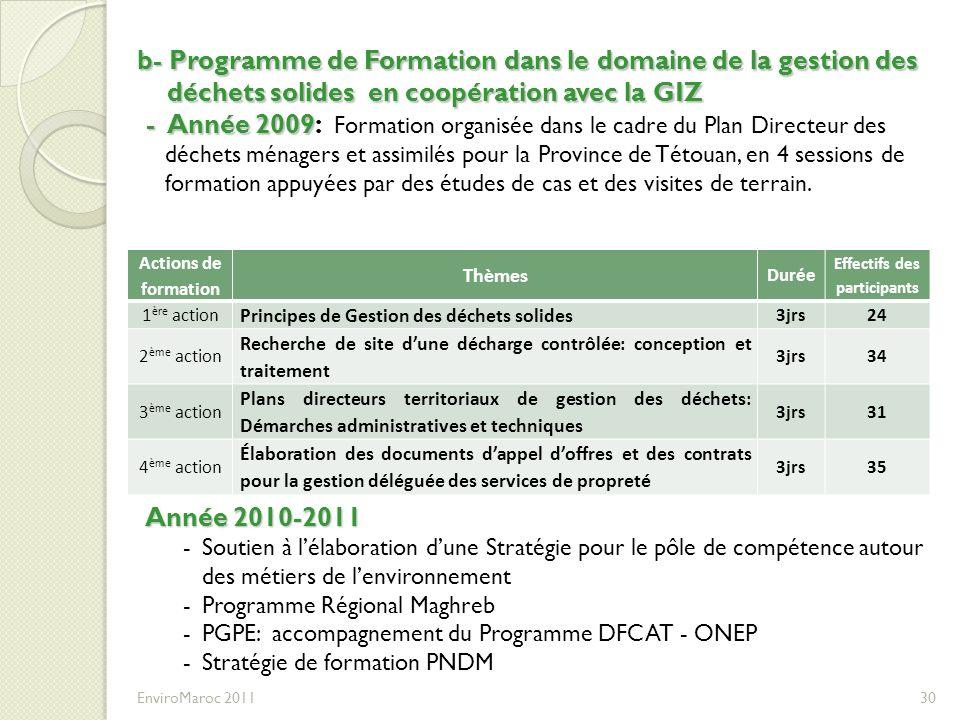 EnviroMaroc 2011 30 b- Programme de Formation dans le domaine de la gestion des déchets solides en coopération avec la GIZ - Année 2009 - Année 2009: