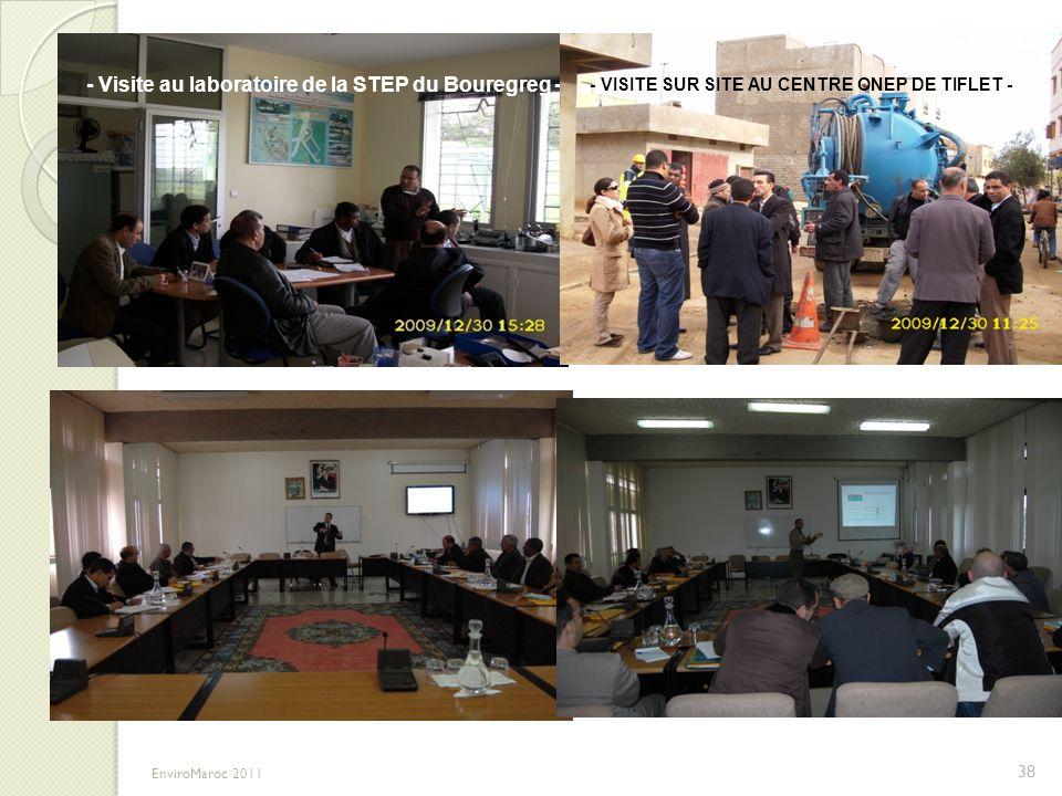 - Visite au laboratoire de la STEP du Bouregreg - - VISITE SUR SITE AU CENTRE ONEP DE TIFLET - 38 EnviroMaroc 2011