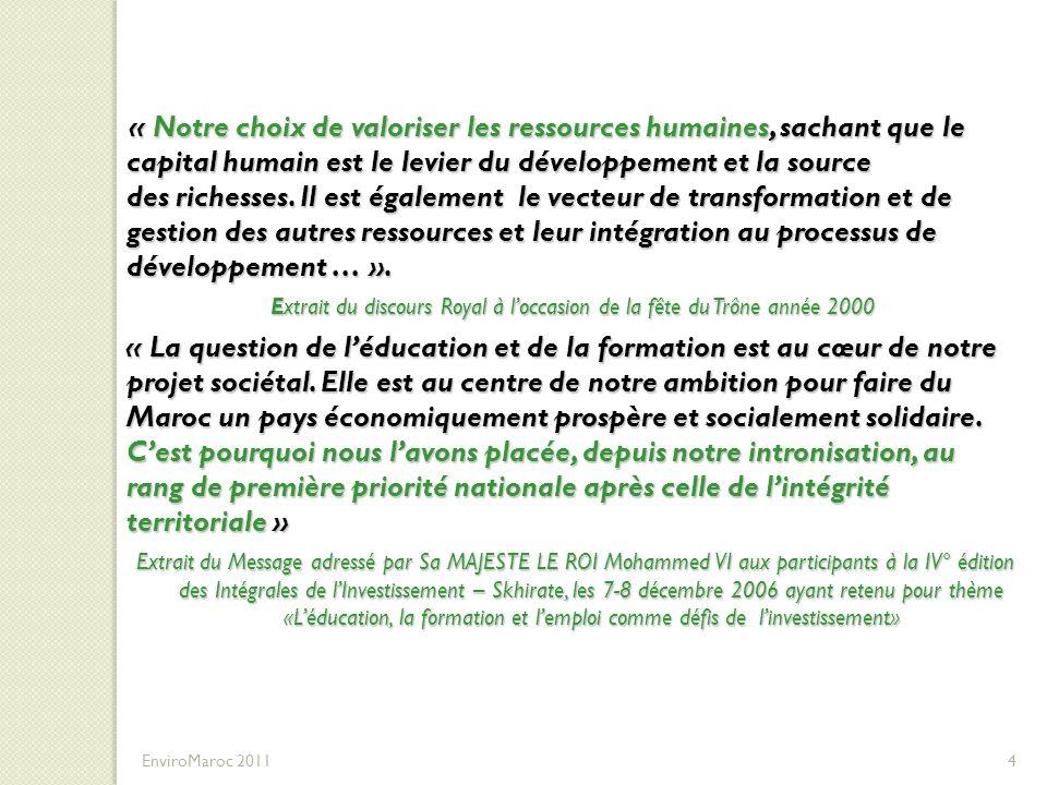 25 EnviroMaroc 2011 D- Quelques Programmes de Formation réalisés ou en cours liés à lenvironnement et au développement durable Environnement Déchets solides Eau potable / Eaux usées Paysages et espaces verts Déplacement urbain