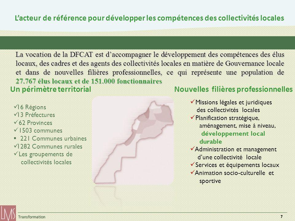 7 Transformation Lacteur de référence pour développer les compétences des collectivités locales 16 Régions 13 Préfectures 62 Provinces 1503 communes 2