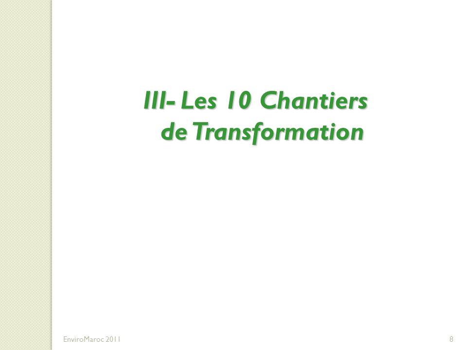 III- Les 10 Chantiers de Transformation III- Les 10 Chantiers de Transformation DU DEVELOPPEMENT DES COMPETENCES EnviroMaroc 20118