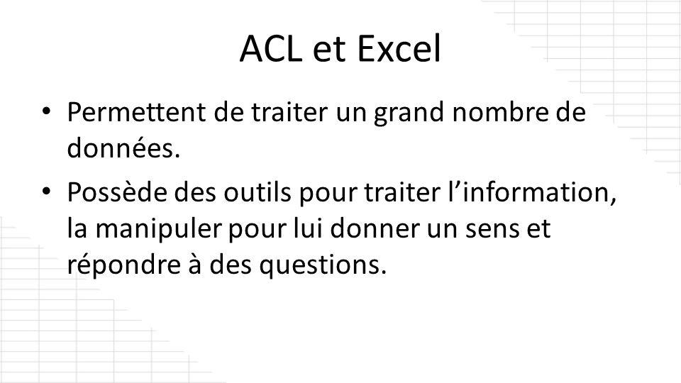 ACL et Excel Permettent de traiter un grand nombre de données. Possède des outils pour traiter linformation, la manipuler pour lui donner un sens et r