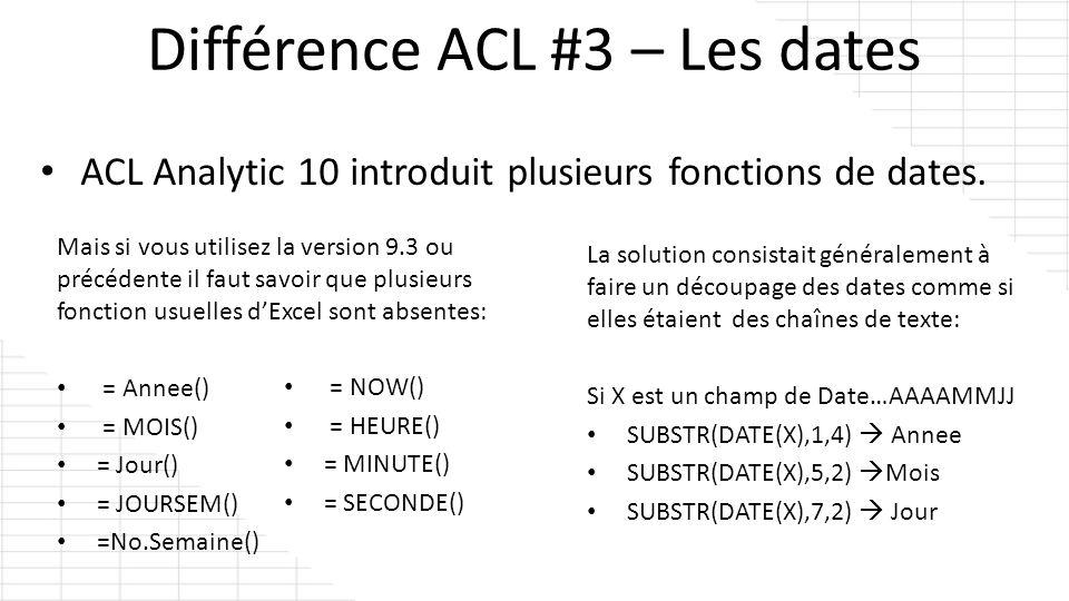 ACL Analytic 10 introduit plusieurs fonctions de dates. Mais si vous utilisez la version 9.3 ou précédente il faut savoir que plusieurs fonction usuel