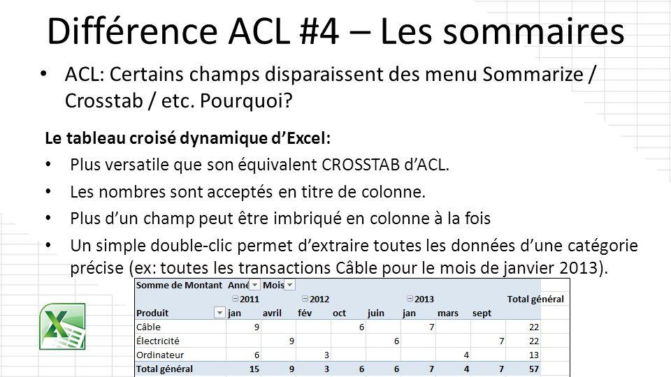 Différence ACL #4 – Les sommaires Le tableau croisé dynamique dExcel: Plus versatile que son équivalent CROSSTAB dACL. Les nombres sont acceptés en ti