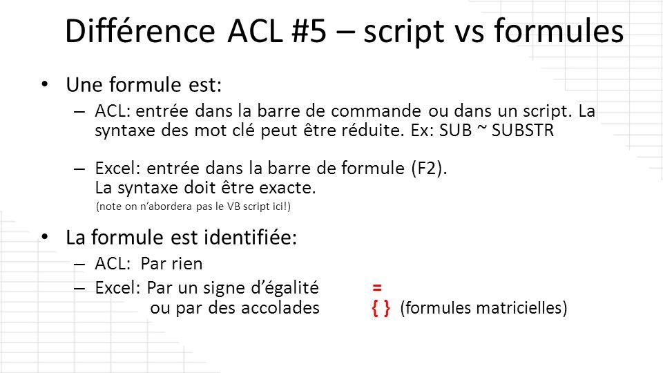 Une formule est: – ACL: entrée dans la barre de commande ou dans un script. La syntaxe des mot clé peut être réduite. Ex: SUB ~ SUBSTR – Excel: entrée