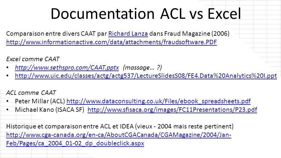 Comparaison entre divers CAAT par Richard Lanza dans Fraud Magazine (2006)Richard Lanza http://www.informationactive.com/data/attachments/fraudsoftwar
