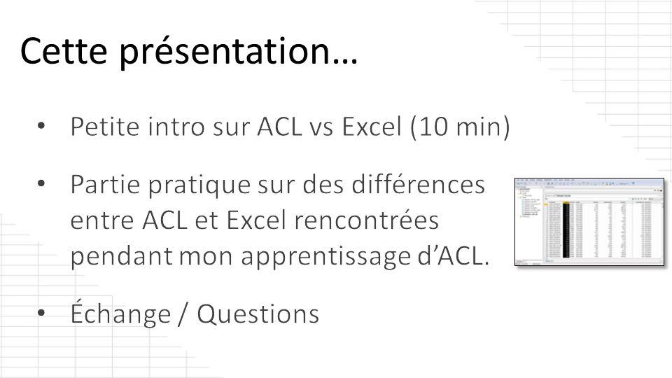 Résultat: La fonction LENGTH dACL devrait toujours retourner la même valeur par défaut contrairement à =NBCAR dExcel.