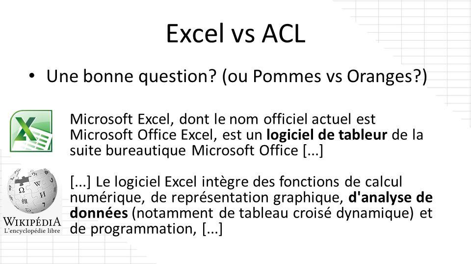 Excel vs ACL Une bonne question? (ou Pommes vs Oranges?) Microsoft Excel, dont le nom officiel actuel est Microsoft Office Excel, est un logiciel de t
