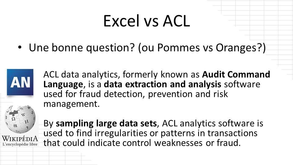 Excel vs ACL Rép: Oui.