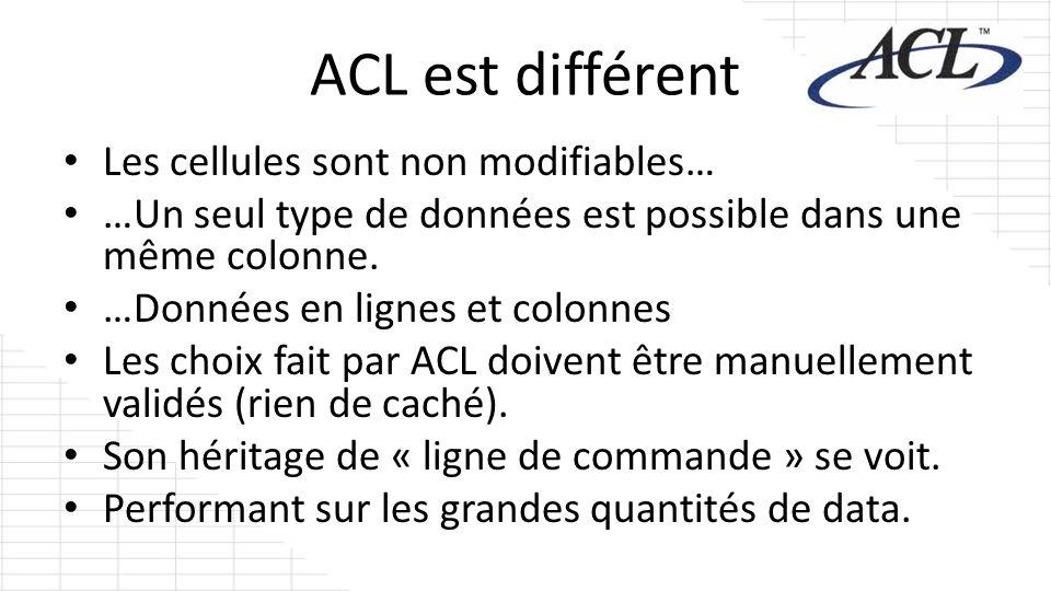 ACL est différent Les cellules sont non modifiables… …Un seul type de données est possible dans une même colonne. …Données en lignes et colonnes Les c
