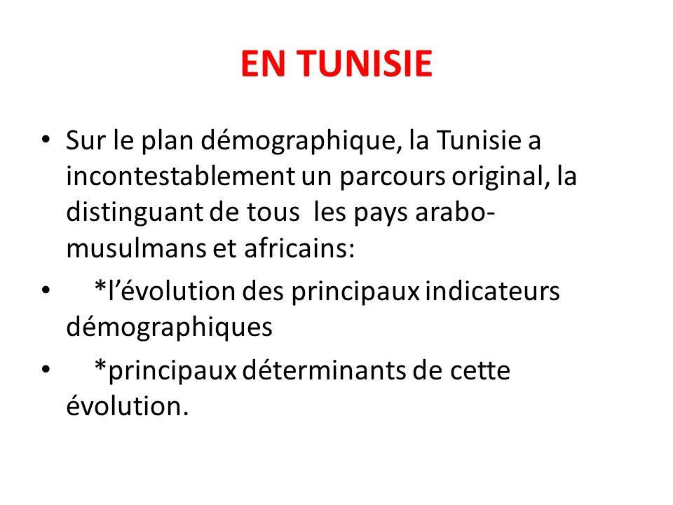 EN TUNISIE Sur le plan démographique, la Tunisie a incontestablement un parcours original, la distinguant de tous les pays arabo- musulmans et africai