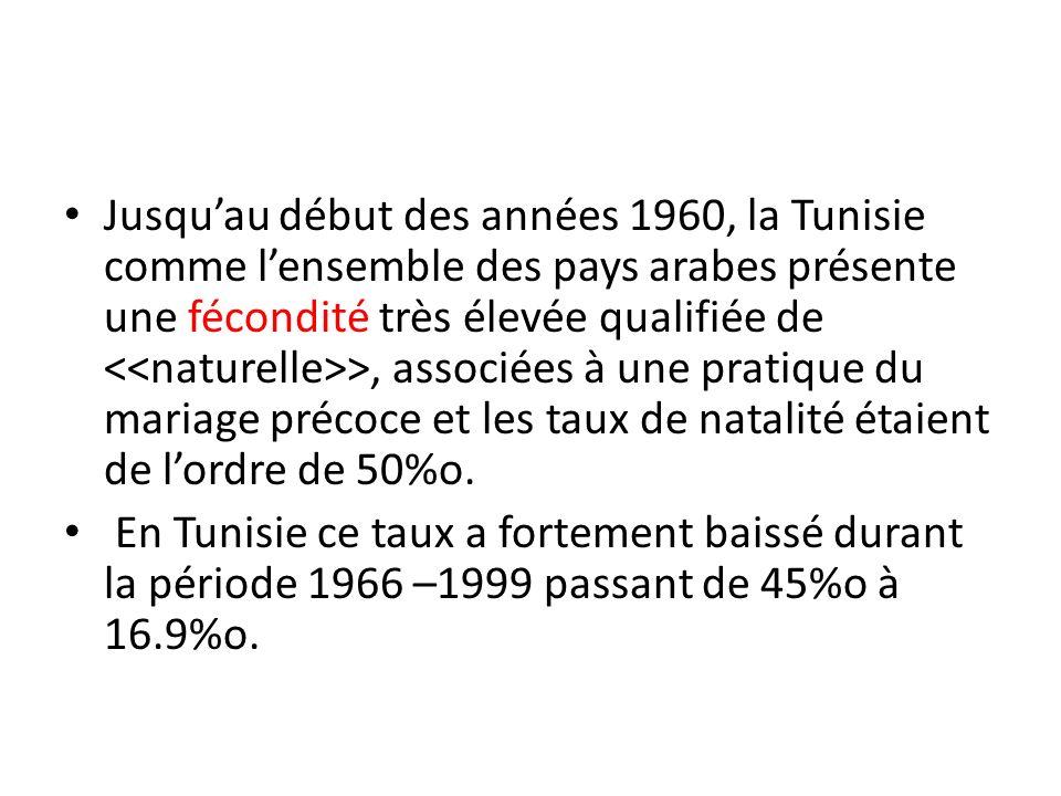 Jusquau début des années 1960, la Tunisie comme lensemble des pays arabes présente une fécondité très élevée qualifiée de >, associées à une pratique