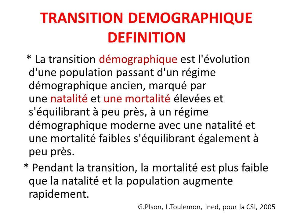 TRANSITION DEMOGRAPHIQUE DEFINITION * La transition démographique est l'évolution d'une population passant d'un régime démographique ancien, marqué pa