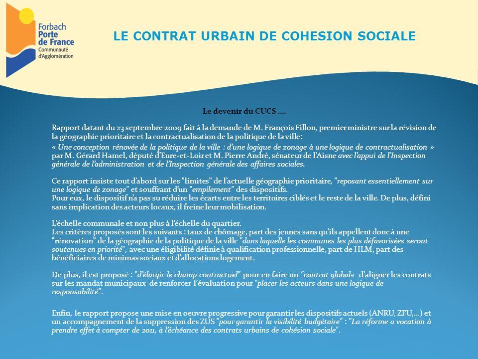Le devenir du CUCS …. Rapport datant du 23 septembre 2009 fait à la demande de M. François Fillon, premier ministre sur la révision de la géographie p