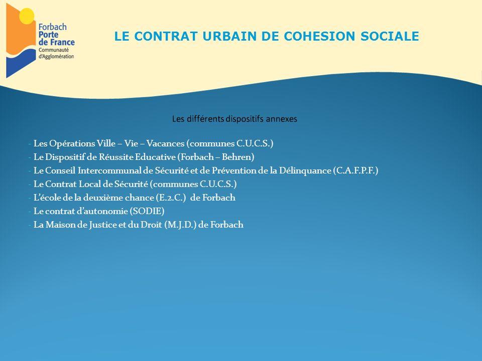- Les Opérations Ville – Vie – Vacances (communes C.U.C.S.) - Le Dispositif de Réussite Educative (Forbach – Behren) - Le Conseil Intercommunal de Séc