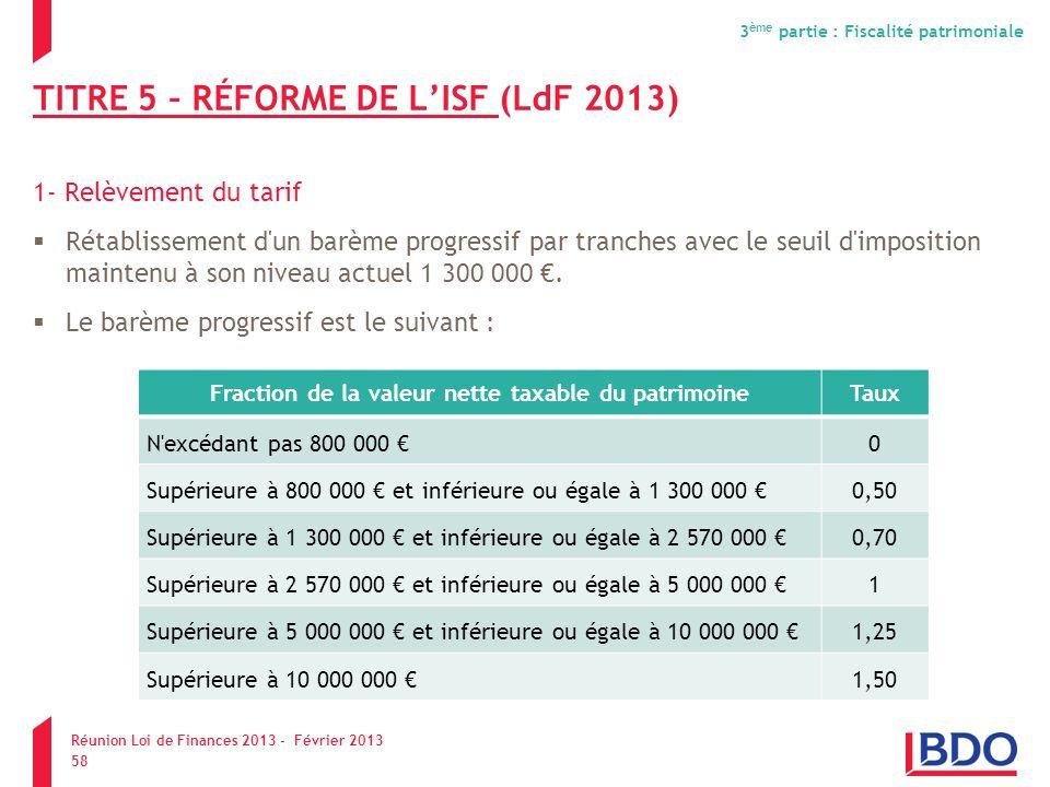 TITRE 5 – RÉFORME DE LISF (LdF 2013) 1- Relèvement du tarif Rétablissement d'un barème progressif par tranches avec le seuil d'imposition maintenu à s