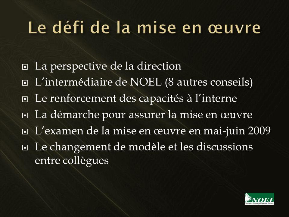 La perspective de la direction Lintermédiaire de NOEL (8 autres conseils) Le renforcement des capacités à linterne La démarche pour assurer la mise en