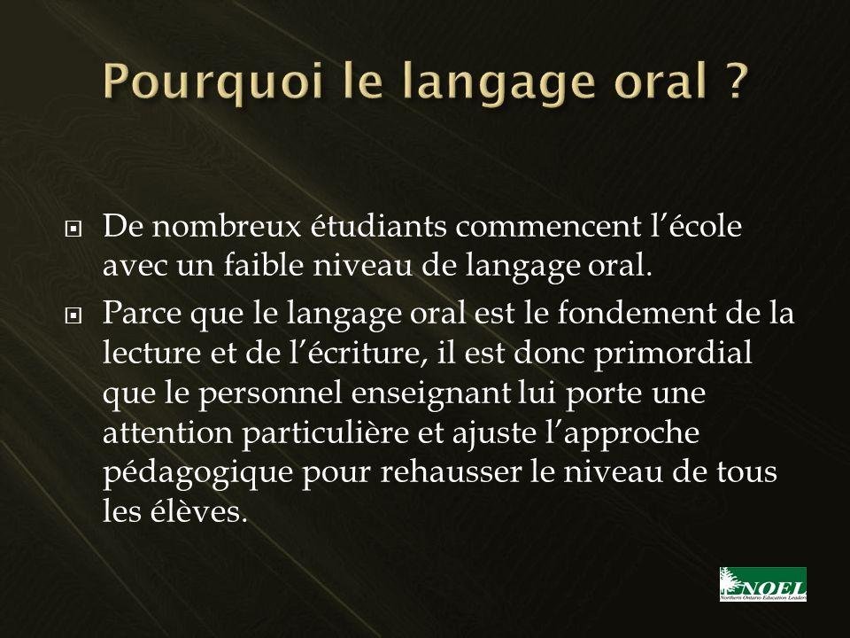 De nombreux étudiants commencent lécole avec un faible niveau de langage oral. Parce que le langage oral est le fondement de la lecture et de lécritur