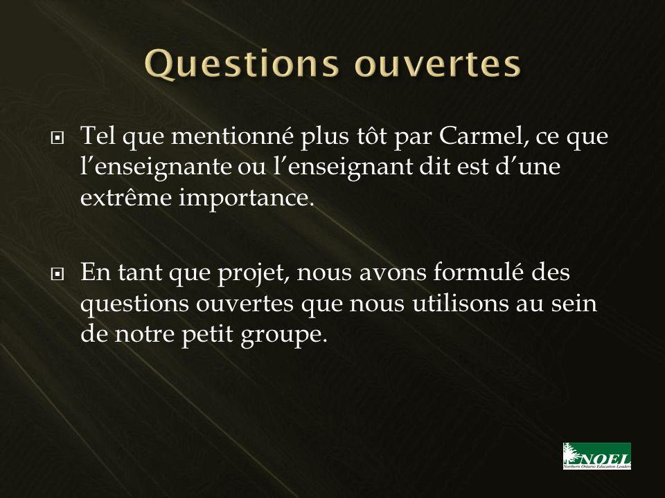 Tel que mentionné plus tôt par Carmel, ce que lenseignante ou lenseignant dit est dune extrême importance. En tant que projet, nous avons formulé des
