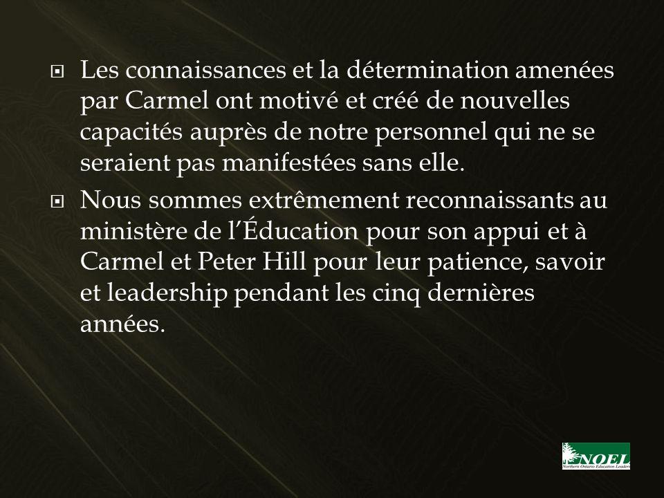 Les connaissances et la détermination amenées par Carmel ont motivé et créé de nouvelles capacités auprès de notre personnel qui ne se seraient pas ma