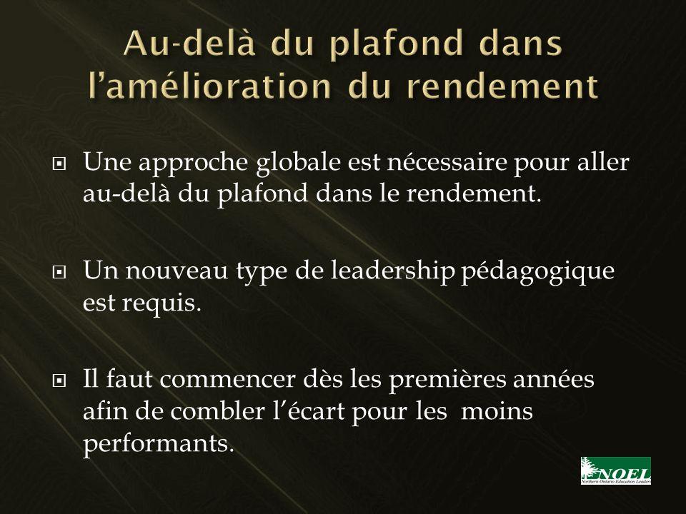 Une approche globale est nécessaire pour aller au-delà du plafond dans le rendement. Un nouveau type de leadership pédagogique est requis. Il faut com