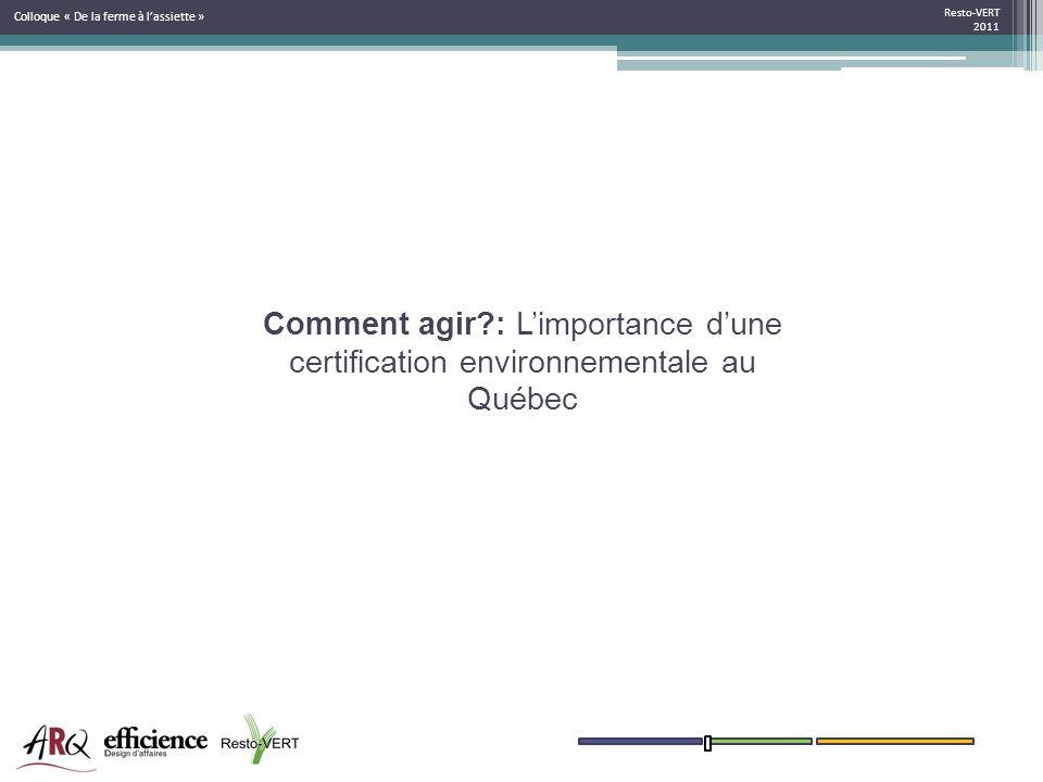 Resto-VERT 2011 Colloque « De la ferme à lassiette » Comment agir?: Limportance dune certification environnementale au Québec