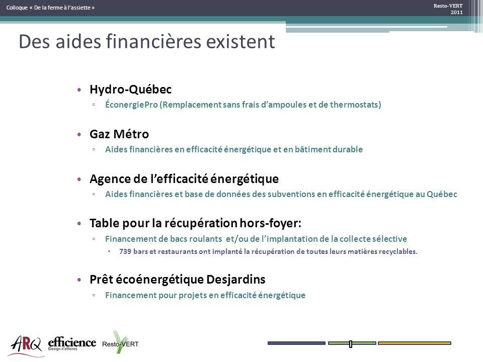 Des aides financières existent Hydro-Québec ÉconergiePro (Remplacement sans frais dampoules et de thermostats) Gaz Métro Aides financières en efficaci