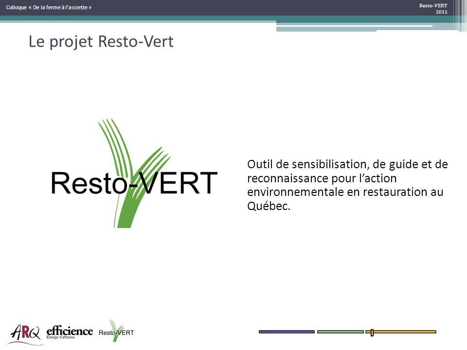 Le projet Resto-Vert Resto-VERT 2011 sensibilisation information incitatif accompagnement Outil de sensibilisation, de guide et de reconnaissance pour