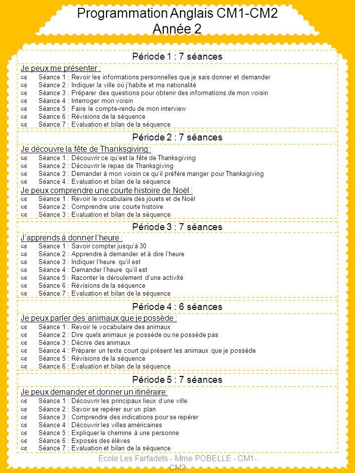 Programmation Anglais CM1-CM2 Année 2 Ecole Les Farfadets - Mme POBELLE - CM1- CM2 Période 1 : 7 séances Je peux me présenter : Séance 1 : Revoir les
