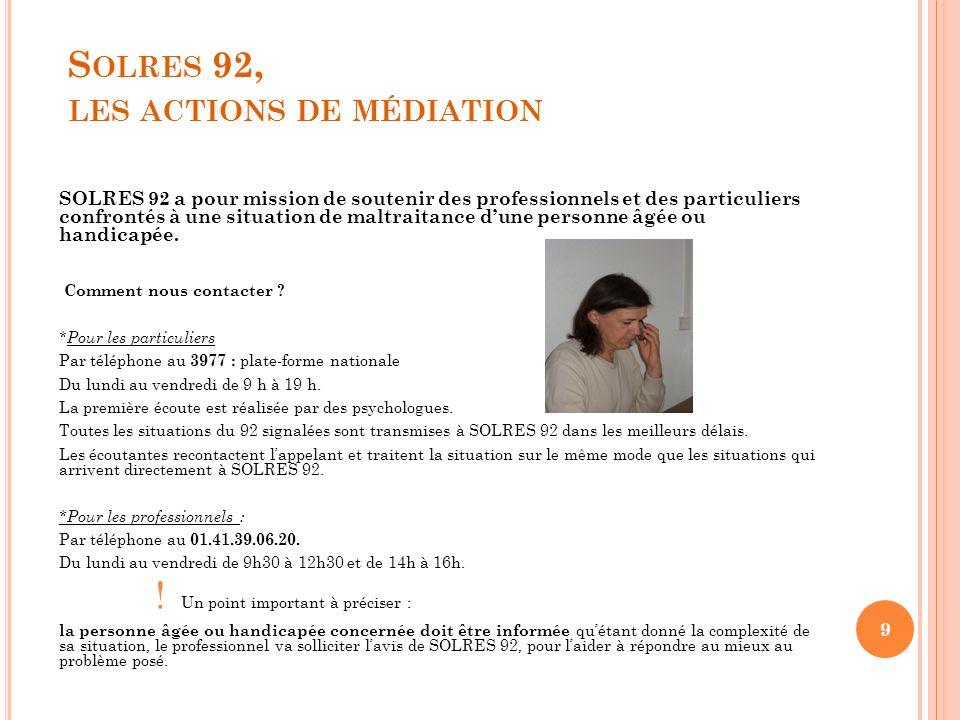 S OLRES 92, LES ACTIONS DE MÉDIATION SOLRES 92 a pour mission de soutenir des professionnels et des particuliers confrontés à une situation de maltrai