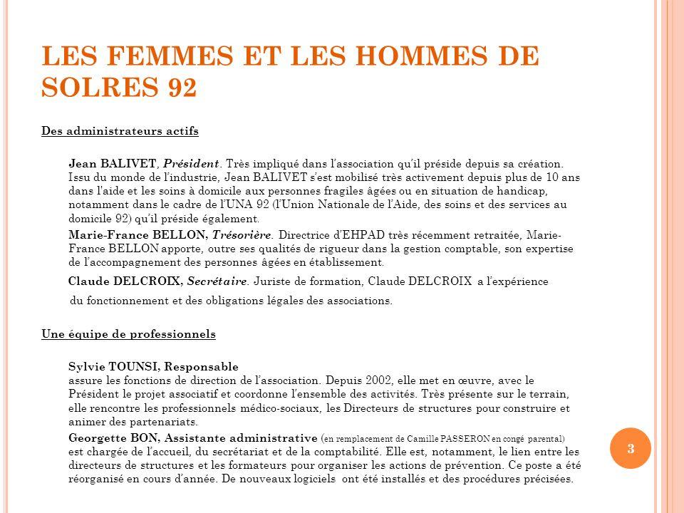 LES FEMMES ET LES HOMMES DE SOLRES 92 Des administrateurs actifs Jean BALIVET, Président. Très impliqué dans lassociation quil préside depuis sa créat