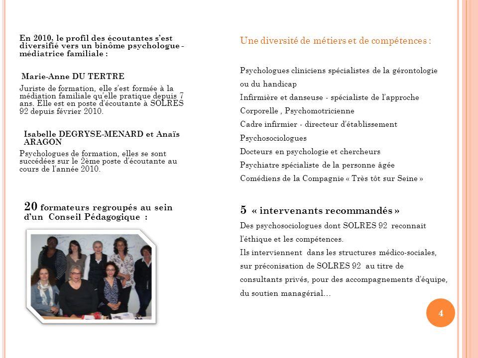 4 En 2010, le profil des écoutantes sest diversifié vers un binôme psychologue - médiatrice familiale : Marie-Anne DU TERTRE Juriste de formation, ell
